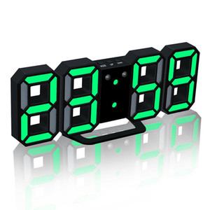 Relojes de pared digitales modernos Reloj de tabla LED Relojes de colores 24 o 12 horas Alarma de pantalla Snooze Despertador Home Room Decor