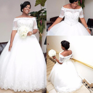 African Plus Size Wedding Dresses 2019 Bridal Gowns With Short Sleeves Boat Neck Beaded Crystals Wedding Dress