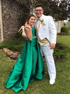Spaghetti Straps Emerald Green Satin Prom Dresses Sweetheart Beading Waist High Leg Slit Sexy Party Dresses with Removable Skirt