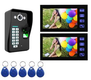Touche Clé 7 pouce Vidéo Porte Téléphone Interphone Sonnette Système D'empreinte Digitale RFID Carte Contrôle d'accès déverrouiller vidéo Porte cloche Interphone