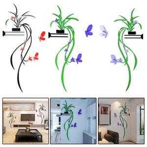 DIY ВАЗа цветок дерево Кристалл Arcylic 3D стены стикеры Главная декоративные наклейки на стены для гостиной