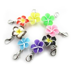 New Arrival 40pcs lot Plumeria Pubra Flower Dangle Charms Lobster Clasp DIY Bracelet Necklace Pendant Jewelry Hanging Charms