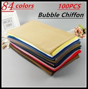 A 56 100pcs lot High Quality Plain Bubble Chiffon Shawls Headbands Popular Hijab Summer Muslim Scarfs Y18102010