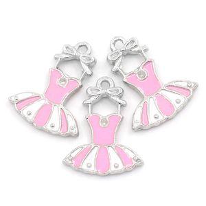 DoreenBeads Charm Pendentifs Dress Silver Tone Enamel Pink White 21x16mm, 10PCs (B23486), yiwu