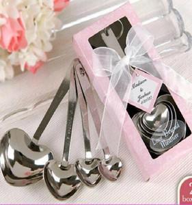 6box / Lot Heart Event Party Supplies Cuchara de acero inoxidable Cumpleaños Christmas Wedding Party Favor Regalo presente con caja Fg306