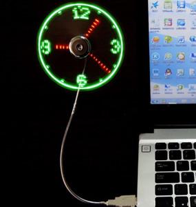 Mini USB LEVOU Fan Clock Display Tempo Piscando USB Relógio Ventilador Para PC Notebook Power Bank Carregador Com ith Relógio USB Gadgets LLFA