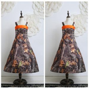 Spaghetti A-Line Camo Flower Girls Dresses Ankle Length Kids Formal Camouflage Real Tree Satin Party Gowns Cheap Sale