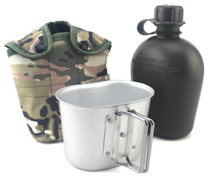 Outdoor 5 Colors 1L Camouflage Camping Army Water Bottle Canteen Cup for Hiking Bicycle Camping Desert Survival Climbing Accessories EOS7652