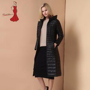 Deviz Королева Марка дамы длинные зимние теплые пальто женщин ультра легкий 90% белая утка пуховик женщин с капюшоном куртка Женские куртки