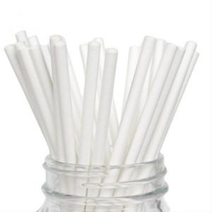 Umweltfreundliche Papierstrohe für Geburtstag Hochzeit Dekorative Party Event Supplies Großhandel Plain Alle Weiß Trinken Papierstrohe