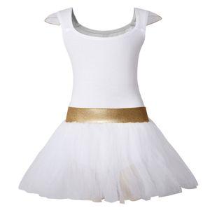 Toddler Girls Tank Leotards for Ballet Dance Sleeveless Dress with Tutu Skirt Gold Waistband and Flying Sleeves