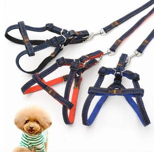 Einstellbare Bilayer-Denim-Jeans-Welpen-Hundeweste Geschirre Lead 3 Stück Set Cowboy Zugseil Strong Leine Hundehalsband