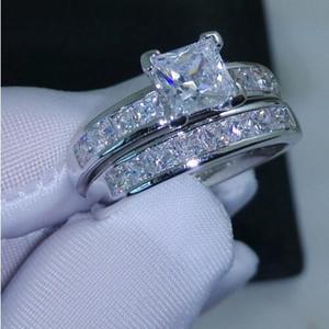Choucong Değerli Takı Prenses Kesim 5A zirkon cz 10KT Beyaz Altın Dolu Kadınlar Alyans Set Sz 5-11 Ücretsiz kargo Hediye