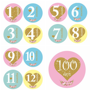 13Pcs lot Baby Monthly Photograph Stickers 1-12 Month +100 Days Set Stickers DIY Photo Album Cartoon Baby Photo Props