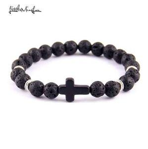 Little MingLou Nueva moda Trendy Jesus cruz Charm hombres pulsera Lava Stone 8mm Beads Bracelets Bangles para mujeres Jewelry
