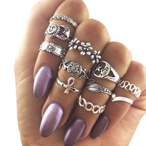 10 Takım Kadınlar için Vintage Knuckle Yüzük Boho Geometrik Çiçek Kristal Yüzük Seti Bohemian Midi Parmak Takı Bague Femme Aksesua ...