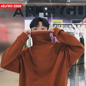 Aelfric Eden para hombre prendas de punto de color sólido jersey de cuello alto invierno cálido estilo japonés suéteres moda suéter streetwear mc28