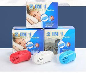 1 مجموعة 2 في 1 الشخير وقف تنقية الهواء الأنف التنفس جهاز التنفس الحرس النوم المعونة الشخير وقف جهاز مكافحة الشخير