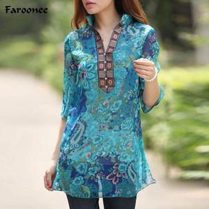 Vente en gros-Faroonee Summer femmes chemise Floral en mousseline de soie demi-manches Plus la taille 5XL Floral Casual Imprimer Tops de plage Blouse grande taille 5XL Q4122