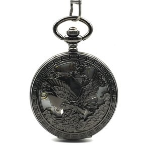 US Emblem Seal Eagle Great Engraved Mechanical Hand Winding Antique Pocket Watch Cool Analog Men Women Black Case Watch Gift