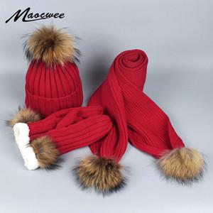 Femme et Gants en tricot écharpe Hat Set d'hiver chauds crochet Chapeaux et écharpes avec la vraie fourrure Pom Bonnet pour femme