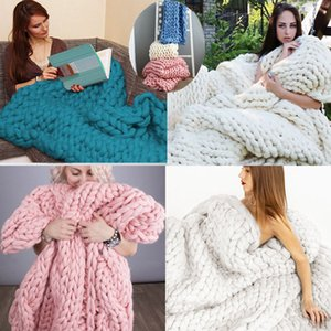 HOT Fashion Hand Chunky Knitted Solid Blanket Thick Yarn Merino Wool Bulky Knitting Throw Photograph props Good Gift