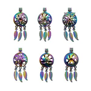 5pcs Rainbow Color Dreamcatcher Pearl Beads Cage Locket Pendant Essential Oil Diffuser DIY Jewelry Locket For Oyster Pearl