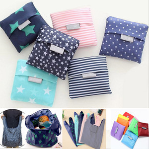 Foldable Shopping Bags Nylon Reusable Grocery Storage Bag Eco Friendly Shopping Bags Tote Bags 19 Colors W35*H55cm HH7-1165