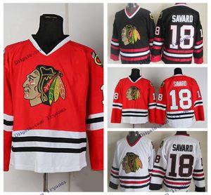 Vintage Chicago Blackhawks Denis Savard Hockey Jersey inicial clássica vermelha # 18 Denis Savard costurado hóquei Camisas Mens