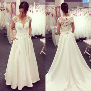 New Charming A Line Wedding Dress with Pockets V Neck Cap Sleeve Beadings Waist Lace Satin Sweep Train Bridal Gowns Custom Made