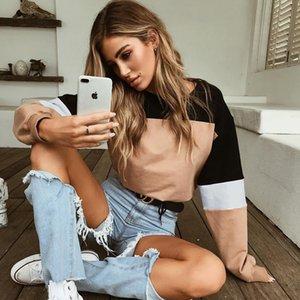 2018 manches longues automne coton court hoddies femmes mode décontractée o cou contraste noir kaki rouge bleu gris top top Sweat-shirts