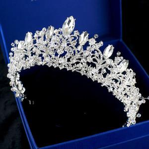 Lüks Gelin Taç Rhinestone Kristaller Kraliyet Düğün Kraliçe Büyük Taçlar Gelin Tatlı 16 Için Prenses Kristal Barok Doğum Günü Partisi Çelenkler