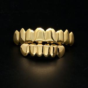 Lureen 2 colori Grillz 8 denti Top e 6 inferiori Griglie Set con gioielli in silicone modello Vampiro Hip Hop