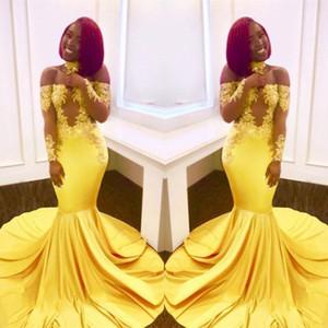 Gerçek Görüntüler Afrika Nijeryalı Sarı Mermaid Gelinlik Modelleri 2018 Kapalı Omuz Dantel Uzun Kollu Aplikler Abiye giyim Siyah Kızlar Için Giymek