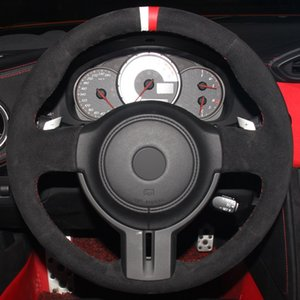 Cubierta del volante del coche cosida a mano de ante negro para Toyota 86 Subaru BRZ