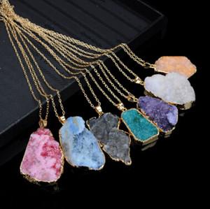 Unground 불규칙 천연 석재 펜던트 목걸이 크리스탈 쿼츠 Drusy 펜던트 여성용 diy jewelry statement jewelry