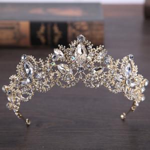 Altın Gelin Taç Rhinestone Kristaller Kraliyet Düğün Kraliçe Taçlar Prenses Kristal Barok Doğum Günü Partisi Tiaras Için Gelin Altın Tatlı 16