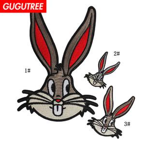 GUGUTREE 자수 큰 토끼 패치 만화 패치 배지의 applique 패치 BP-12