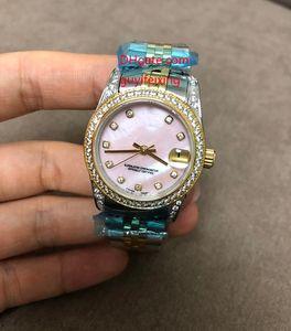 3 Renkler Sıcak Satış Lüks Kadın Saatler 31mm Orta Boy Elmas 178383 DATAJUST Pembe Beyaz Kabuk İndeksi 18 K Altın SS Otomatik Bayanlar Kol