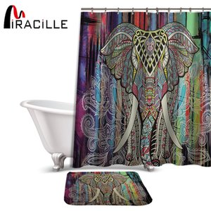 Miracille  Colorful Elephant Printed Waterproof Polyester Shower Curtain Coral Velvet Anti-slip Bath Mat Set with 12 Hooks