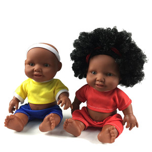 10 inches World Cup Black Baby Girl & Boy Doll Football Game Cute Baby Doll 25cm Silicone Black Body Newborn Baby Doll Kids Gift Toy