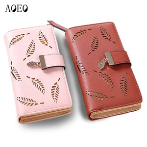 AOEO Ladies Wallet Slim Leaves Hollow Soft PU Leather Clutch Women Purses Phone Bag Female Wallets Coin Purse For Girls