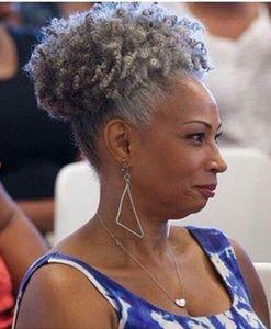 Graue Haare Kinky Culry Pferdeschwanz Haarverlängerung Echte brasilianische Jungfrau Haar Pferdeschwanz Afro Puff Kordelzug Pferdeschwanz grau 100g-120g