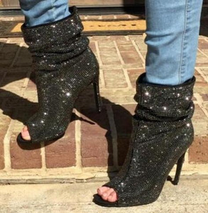Bling Bling Crystal Botines Mujer Peep toe Slip-on Botas cortas Sexy Rhinestone negro tacones de aguja zapatos de vestir Envío gratis