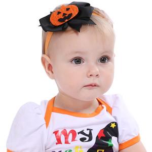 New Kids Pumpkin Elastic Headbands 11*10CM BABY Hallowmas Rubber Hair Band Cartoon Skull Bowknot Hair Band Hallowmas Party Headwear WB3