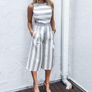 JAYCOSIN 2018 New CharmDemon Women Sleeveless Striped Jumpsuit Casual Clubwear Wide Leg Pants Outfit j24