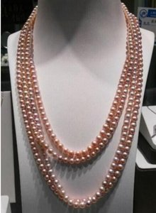 Charming Natural South Sea Pink Pearl Necklace 100inch 14K Gold Clasp