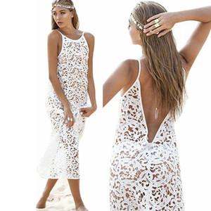 Vestido de moda de verano Boho Beach Dress Vestidos de halter atractivos para las mujeres Vestidos de encaje blanco Talles de verano Vestidos de las mujeres Hollow Out Sundress
