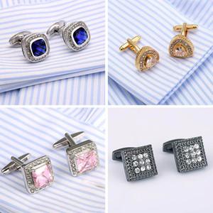 Top Quality Cristal Abotoaduras Francês Camisa Cuff Links Opal Jóias Cufflings 18 Estilo Advogado Presente Cuffs 3 pares de Presente de Natal