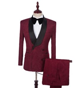 New Fit Slim Men 2 - Pieces Suits Groom Wedding Dress Groomsman Suit Men Singers Fashion Show Dress S-5XL Wine red !